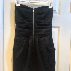 Short black strapless dress